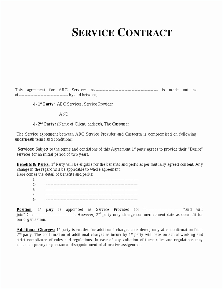 8 Services Contract Template