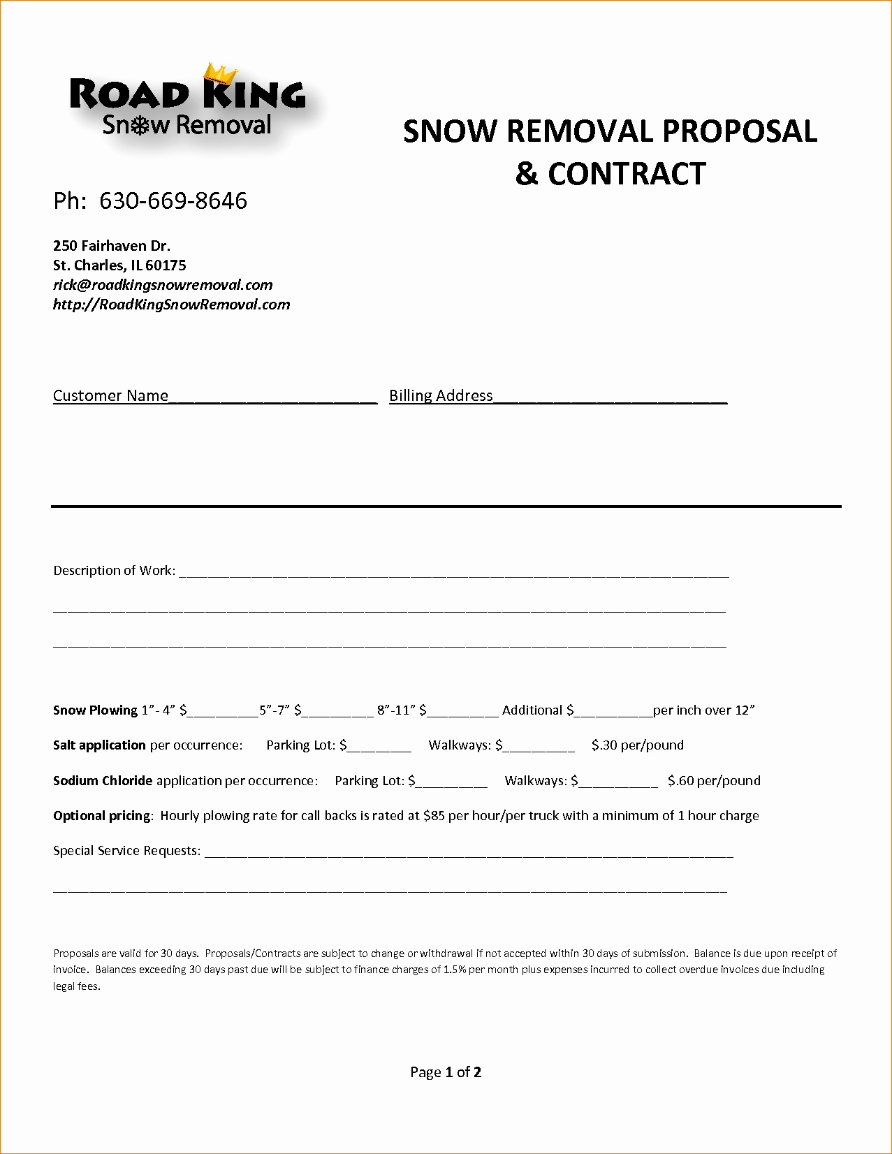 8 Snow Removal Contract Template