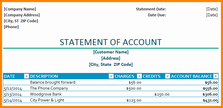 8 Statement Of Account Template Free