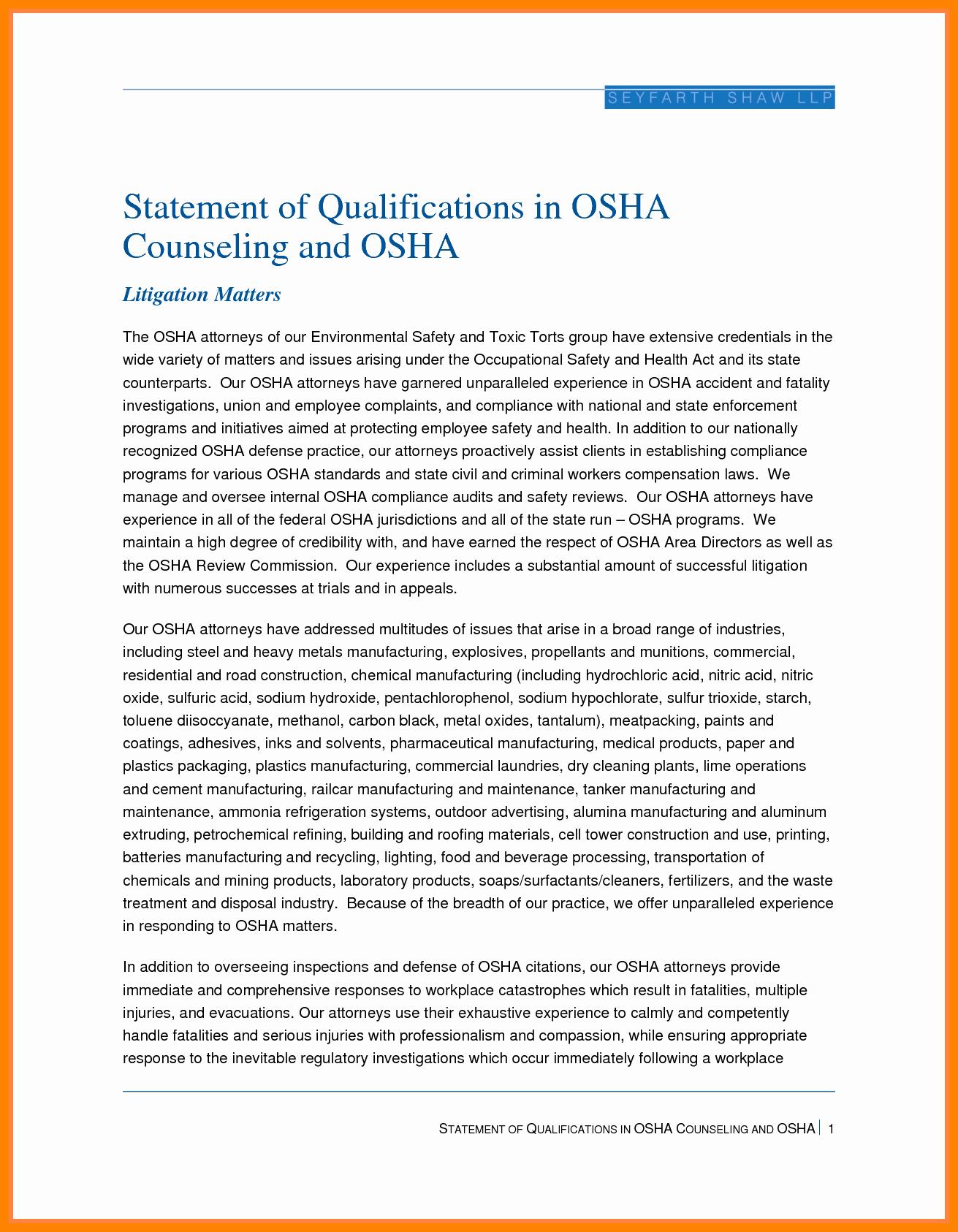 8 Statement Of Qualification