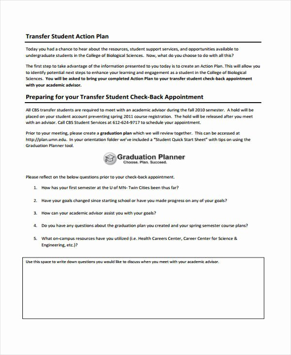 8 Student Action Plan Templates Free Sample Example