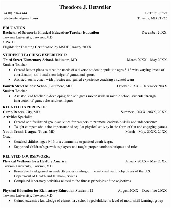 8 Teaching Fresher Resume Templates Pdf Doc