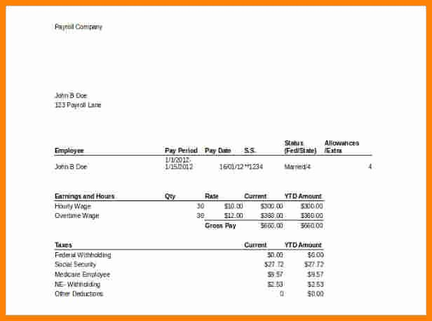 8 Template for Pay Stub Microsoft Word