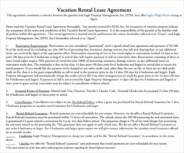 8 Vacation Rental Agreement Samples Examples Templates