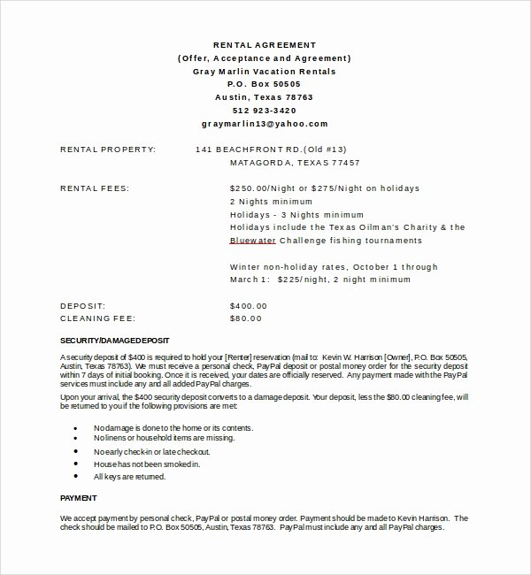 8 Vacation Rental Agreement Templates