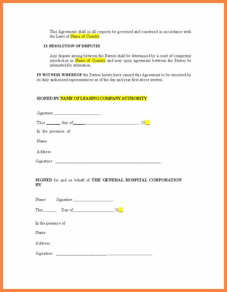 8 Vehicle Lease Agreement