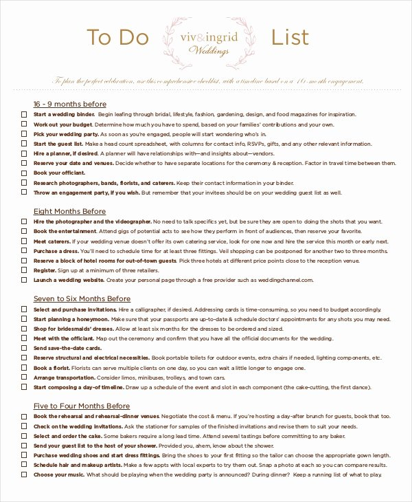 8 Wedding to Do List Free Sample Example format