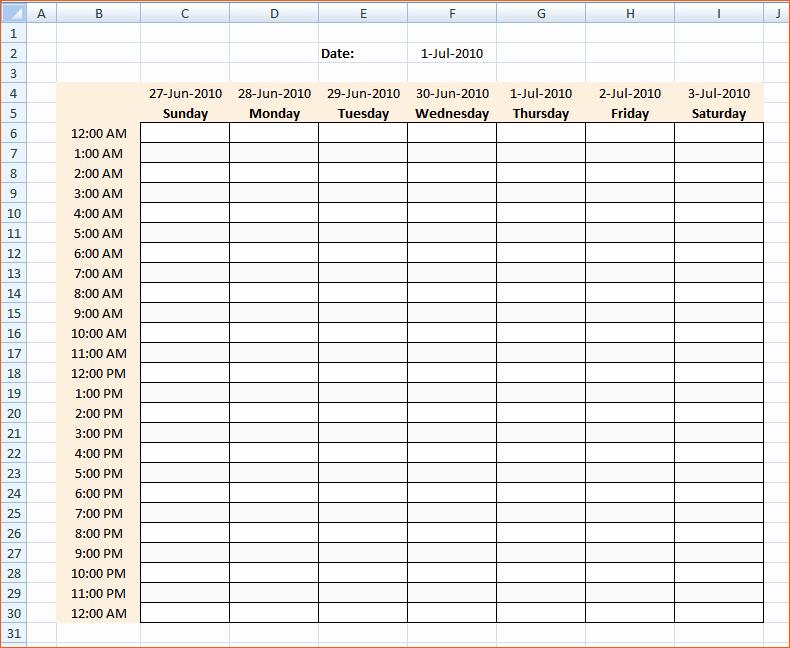 8 Weekly Hourly Calendar