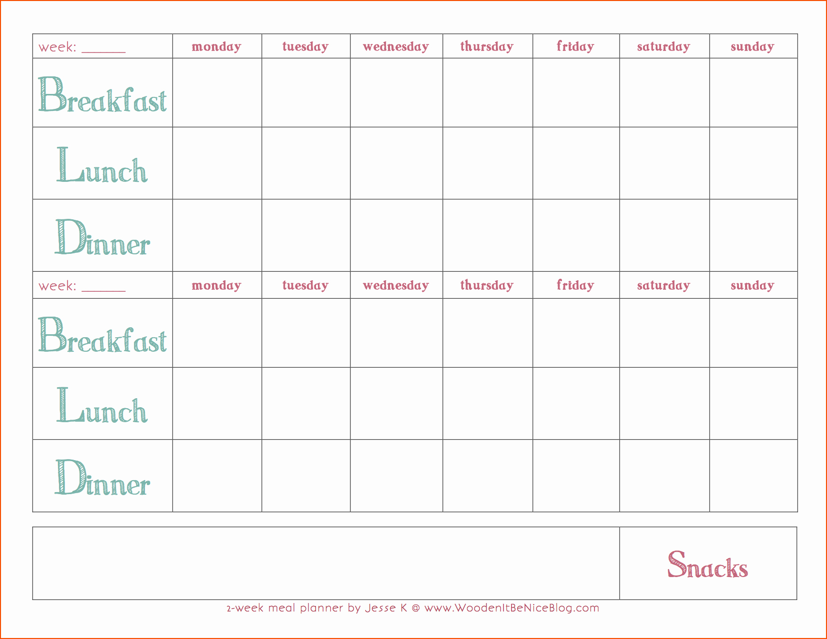 8 Weekly Meal Plan Template Bookletemplate