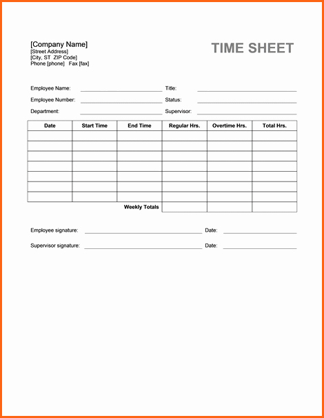 8 Word Timesheet Template Bud Template Letter