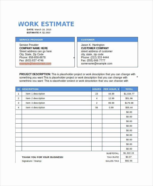 8 Work Estimate Templates