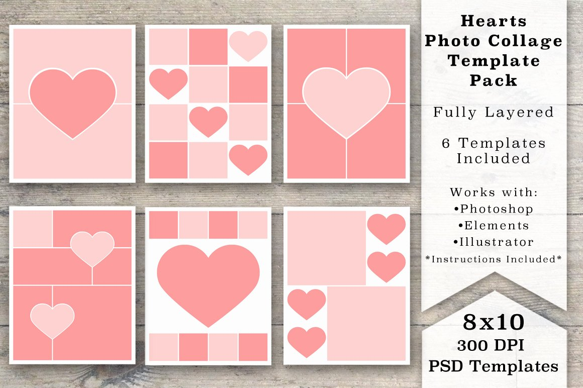 8x10 Heart Collage Templates Templates On Creative
