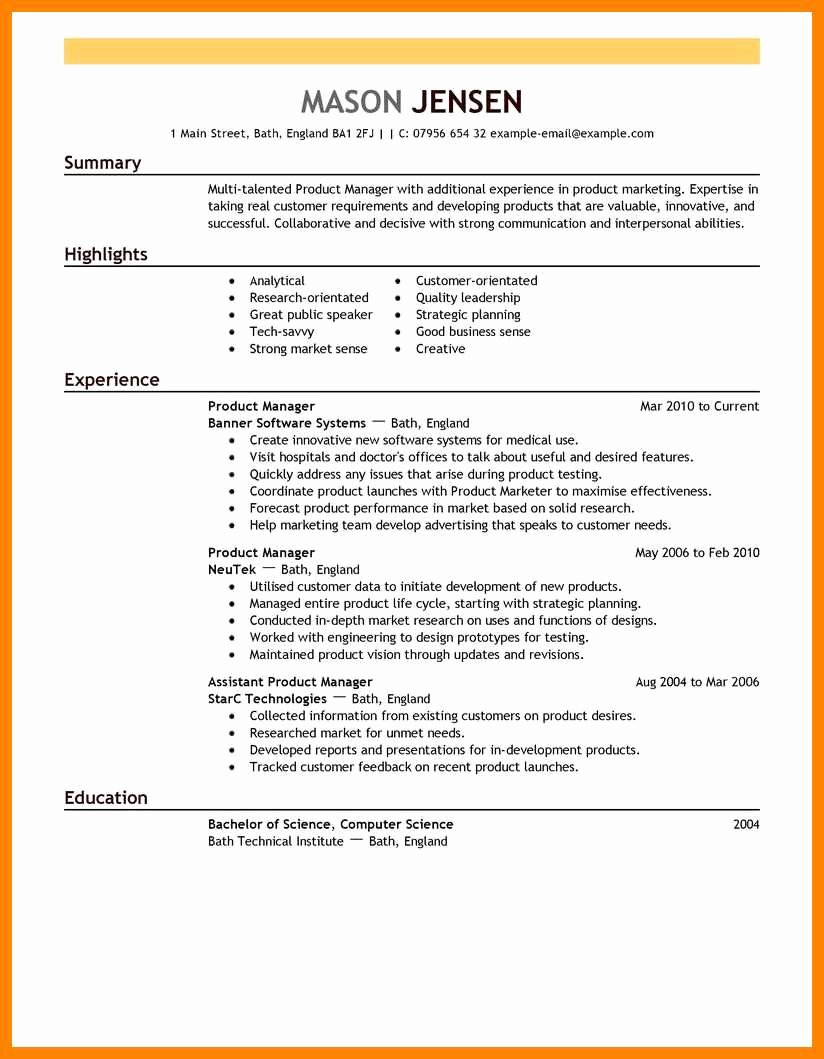 9 10 Entry Level Product Manager Resume