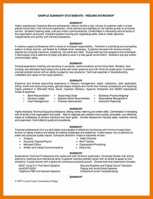 9 10 General Resume Summary Example