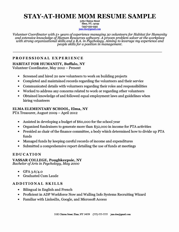 9 10 Reentering the Workforce Resume Samples