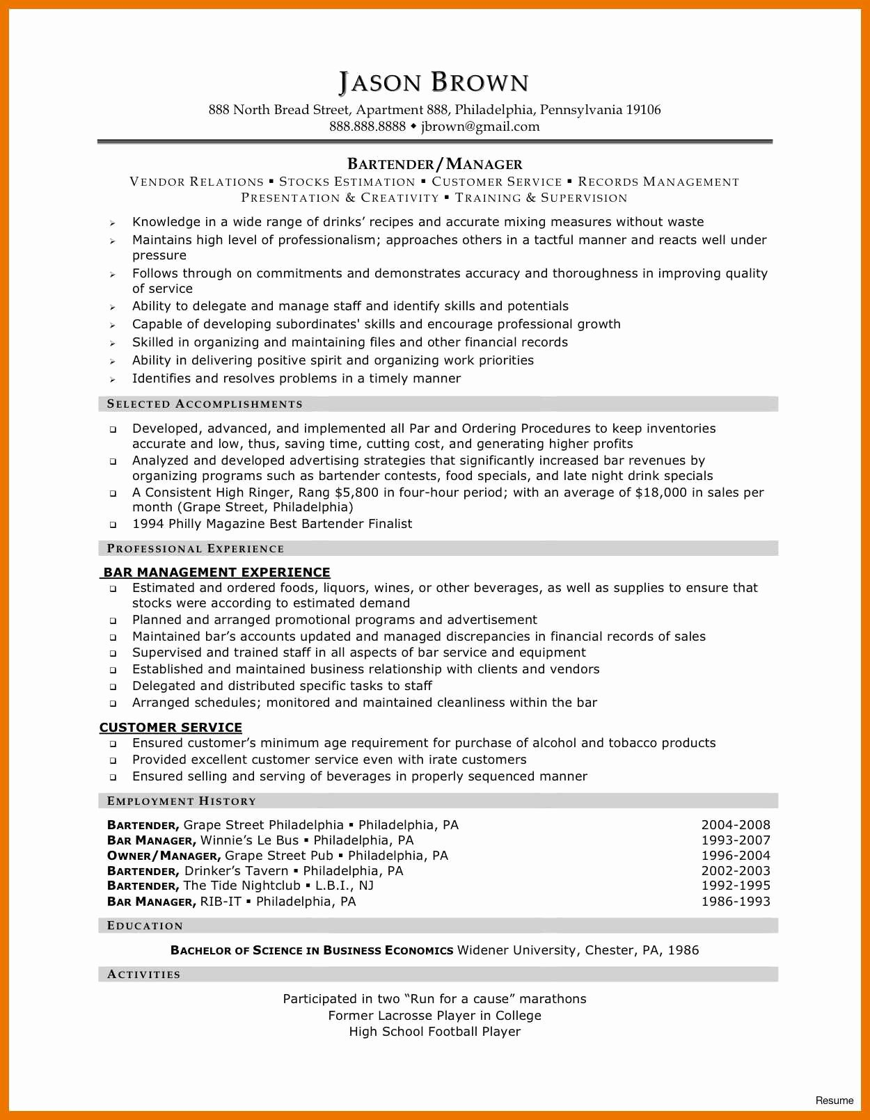 9 10 Sample Resume for Bartending