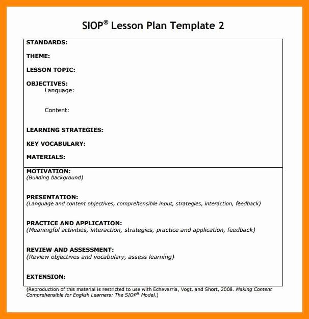 9 10 Siop Lesson Plan Template