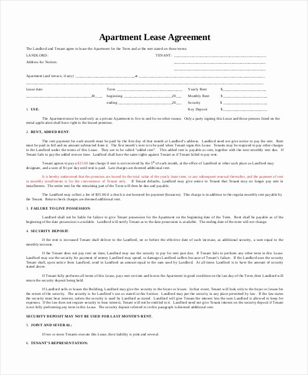 9 Apartment Lease Agreement Templates Word Pdf Pages