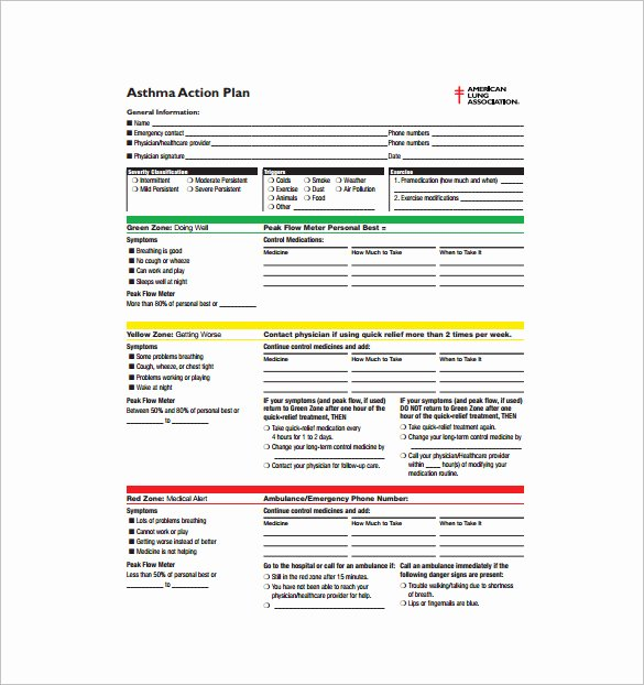 9 asthma Action Plan Template Doc Excel Pdf