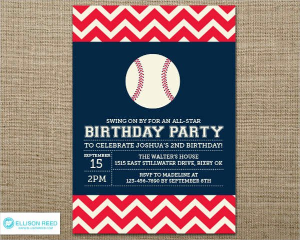 9 Baseball Party Invitation Design Template Sample