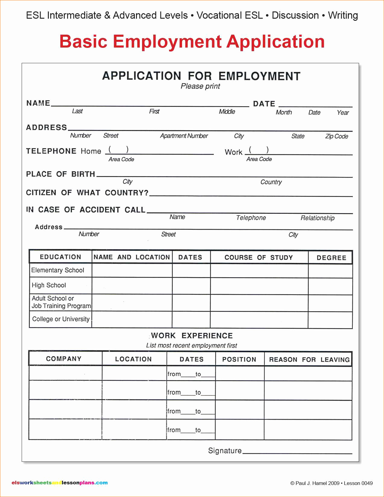 9 Basic Application for Employmentagenda Template Sample