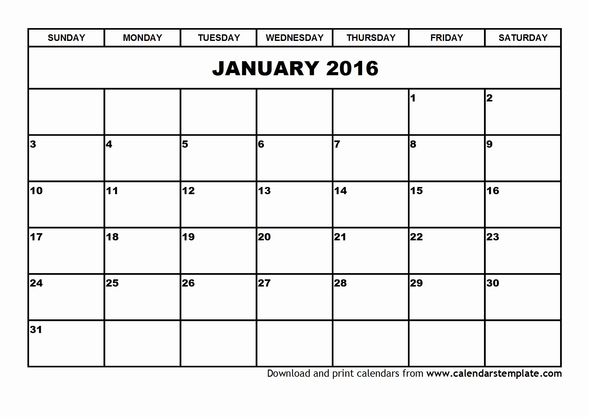 9 Best Of 2016 Calendar January Printable Free
