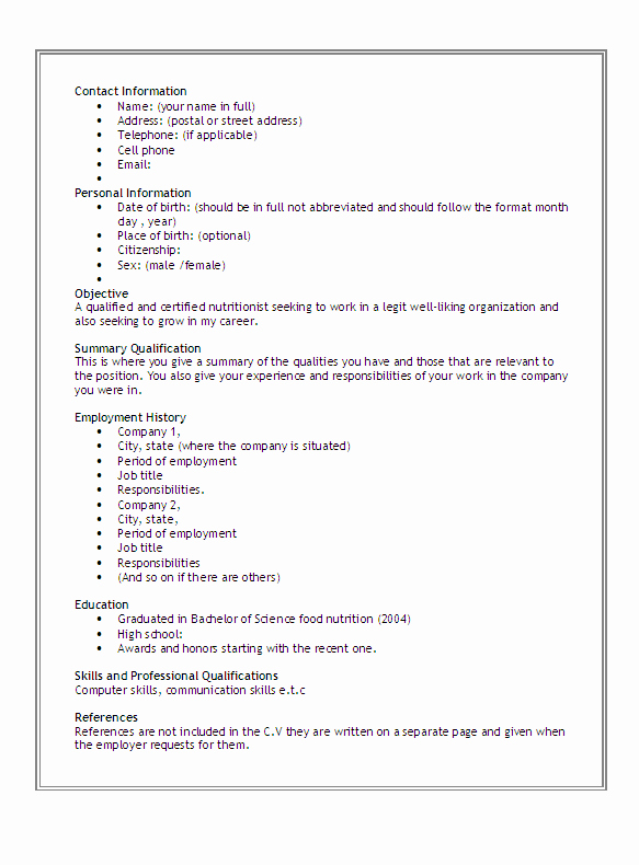 9 Best Of Basic Curriculum Vitae format Printable