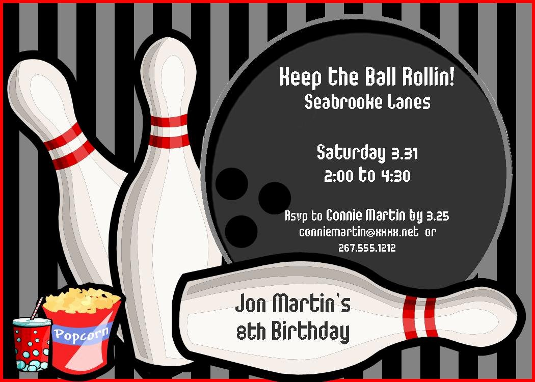9 Best Of Bowling Birthday Invitations Printable