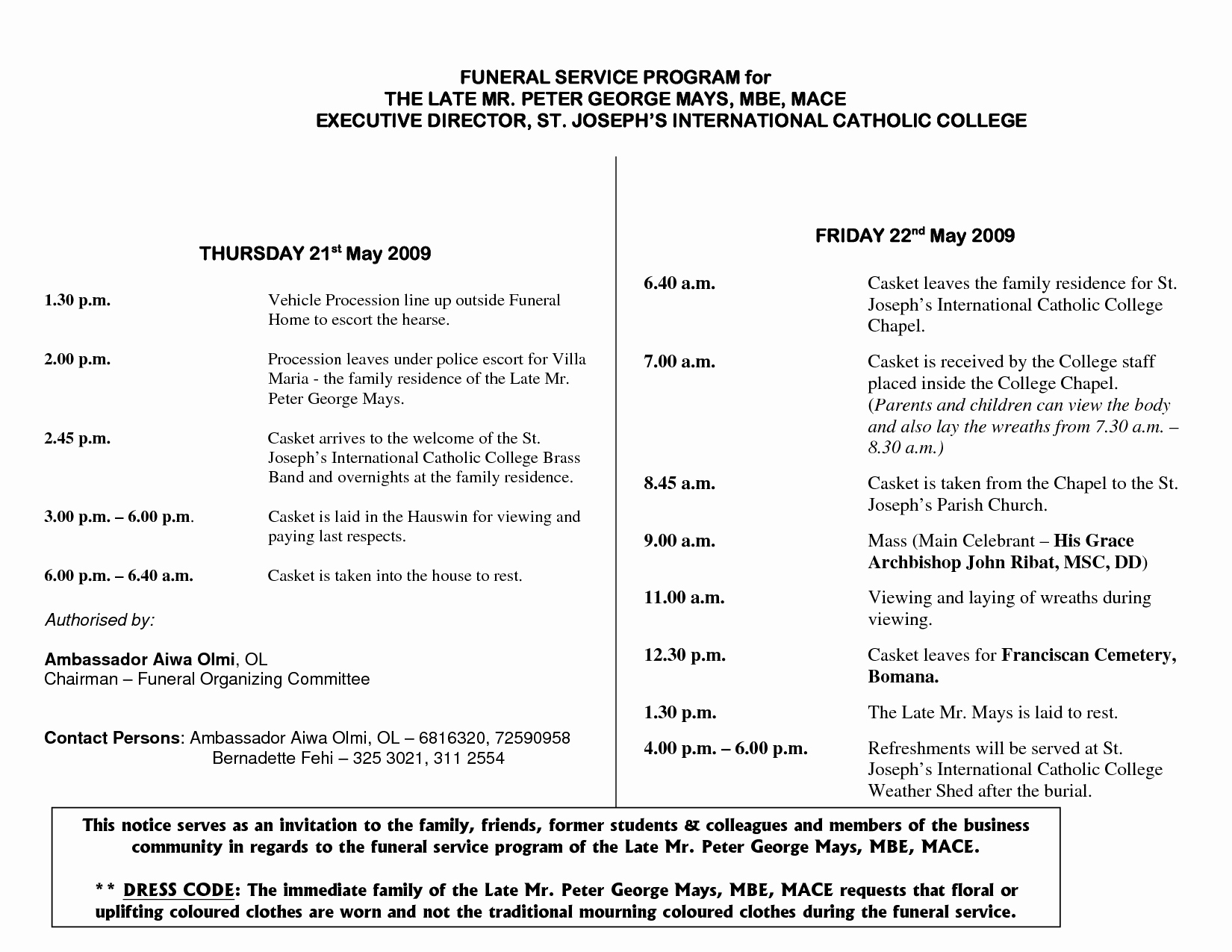 post catholic funeral program template