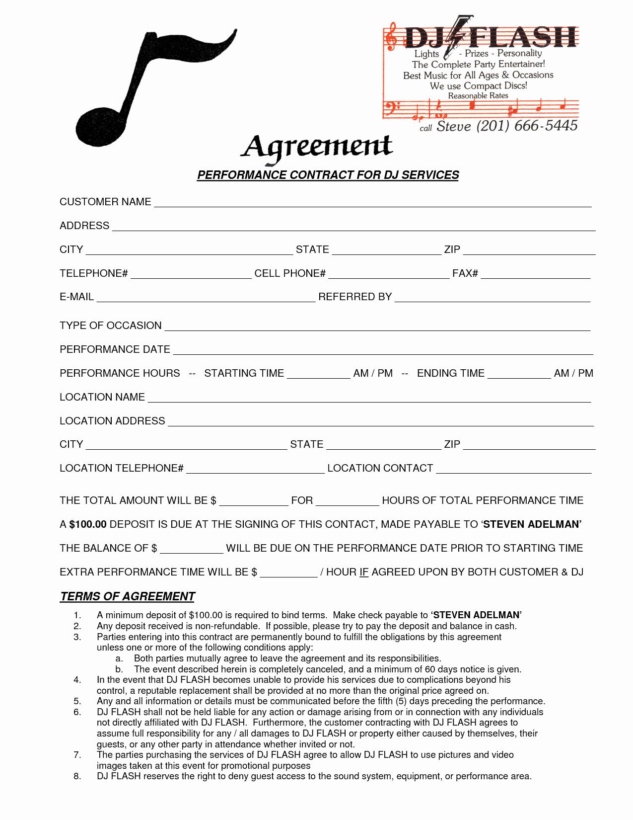 9 Best Of Dj Contract Agreement Template Dj
