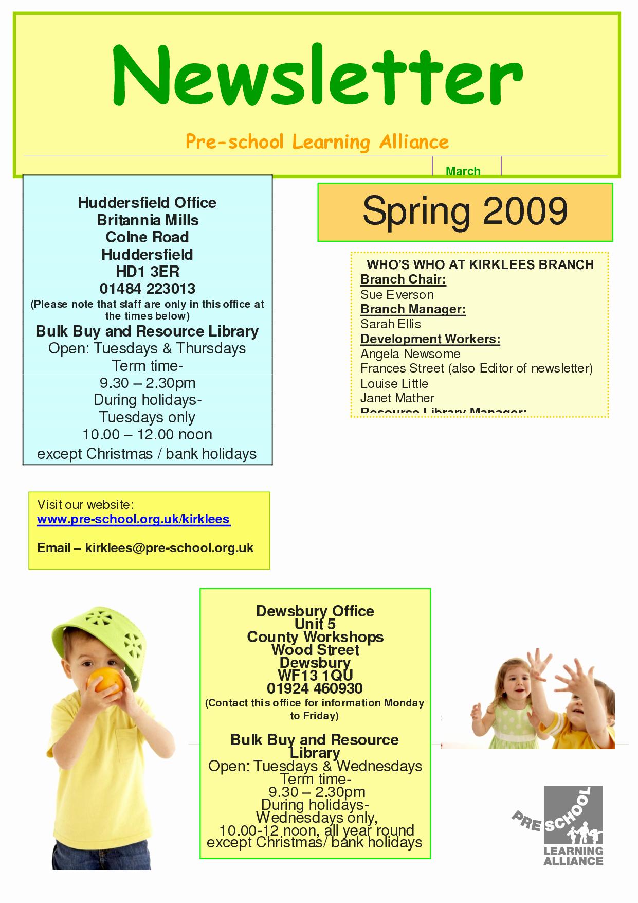 9 Best Of Free Downloadable Preschool Newsletter