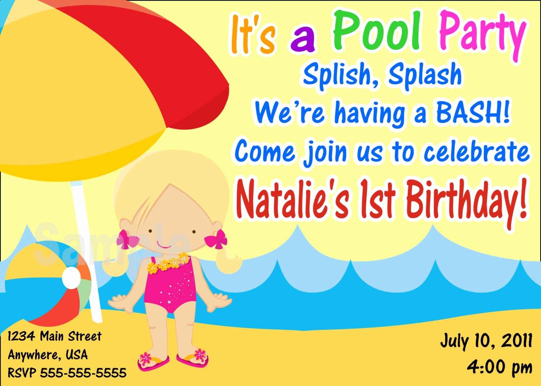9 Best Of Free Printable Birthday Invitations Pool