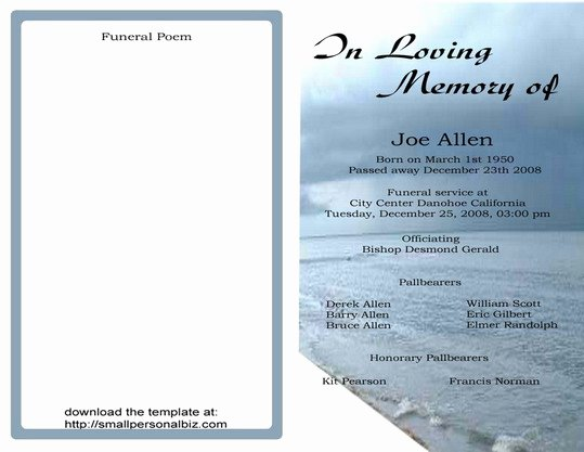 9 Best Of Free Printable Funeral Programs Elegant