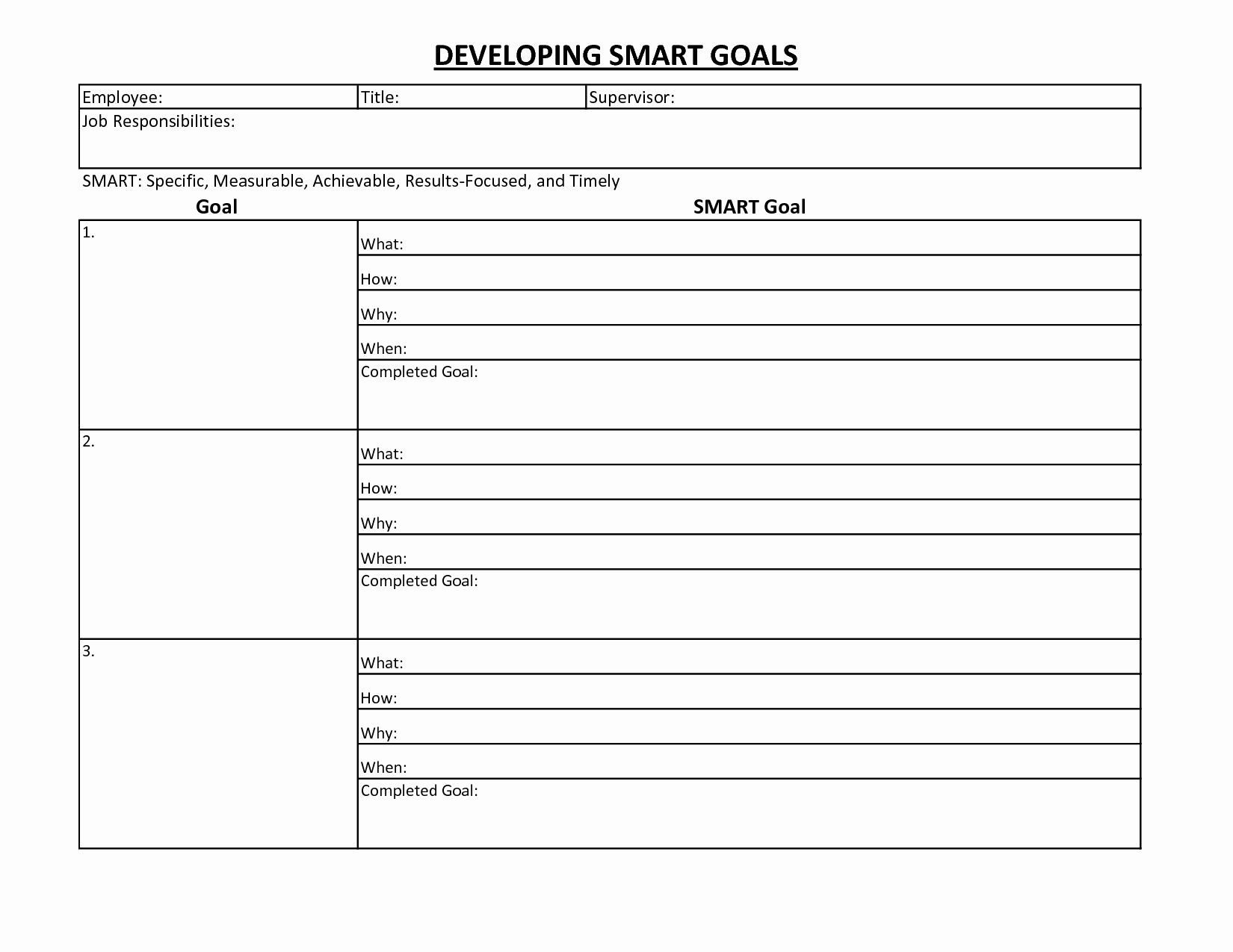 9 Best Of Free Printable Goals Worksheet Template