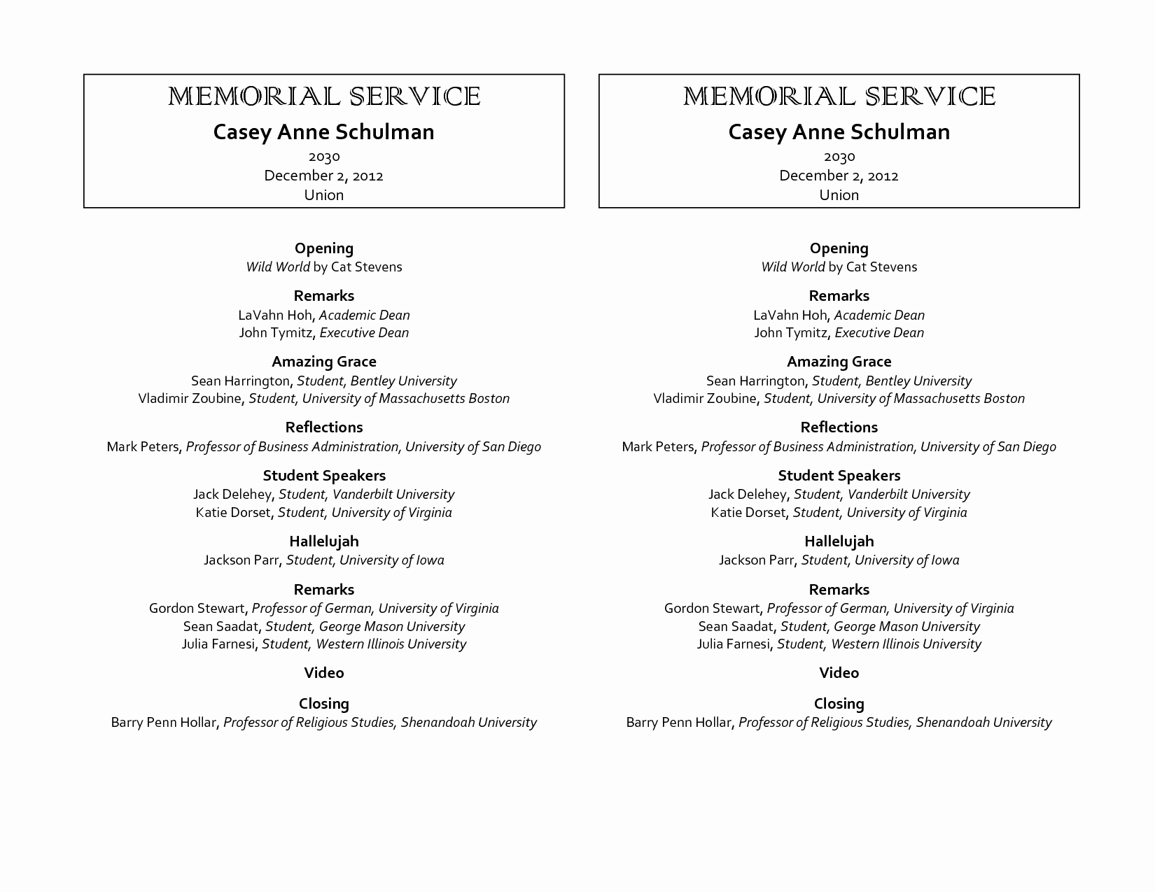 9 Best Of Free Printable Memorial Program Template