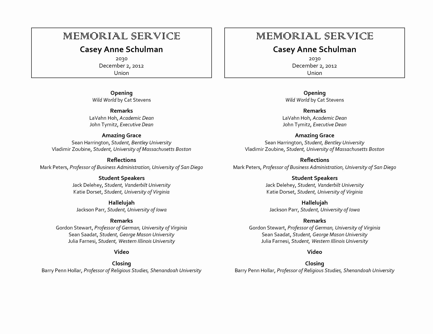 9 Best Of Free Printable Memorial Program Template