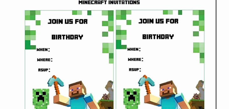 9 Best Of Free Printable Minecraft Invitations