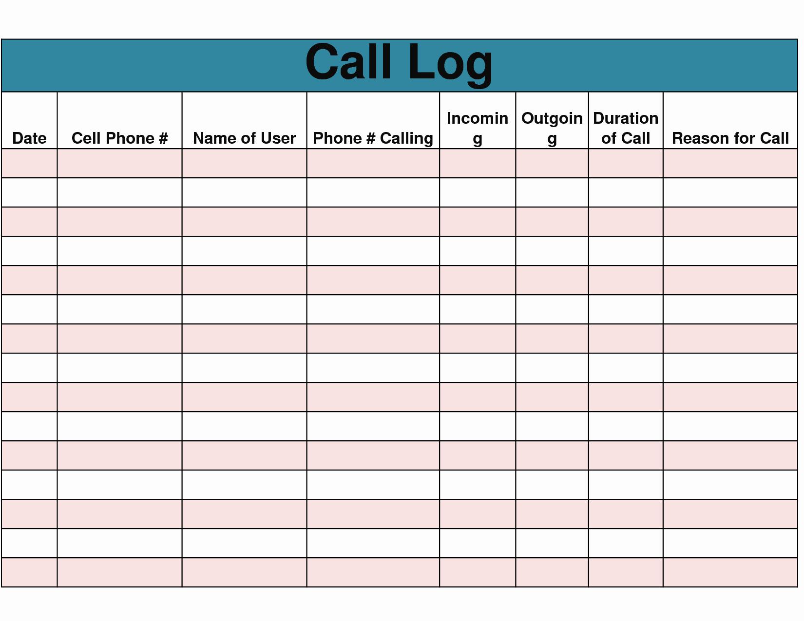 9 Best Of Free Printable Phone Log form Free