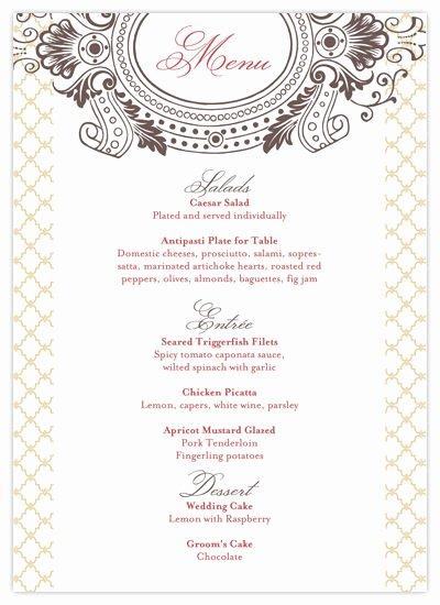 9 Best Of Free Printable Wedding Menus Free
