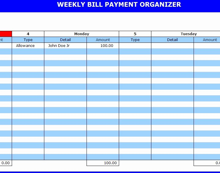 9 Best Of Free Printable Weekly Bill Planner Bill