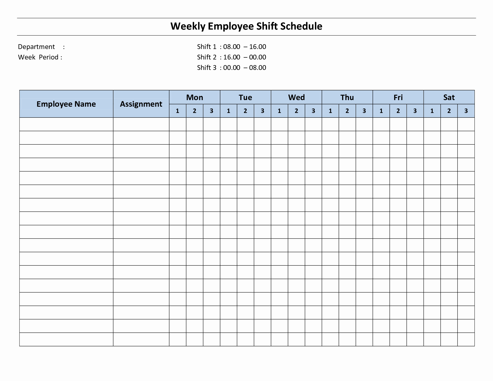 9 Best Of Free Printable Weekly Employee Schedule
