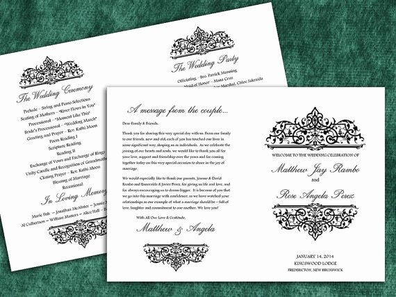 9 Best Of Half Fold Wedding Program Template