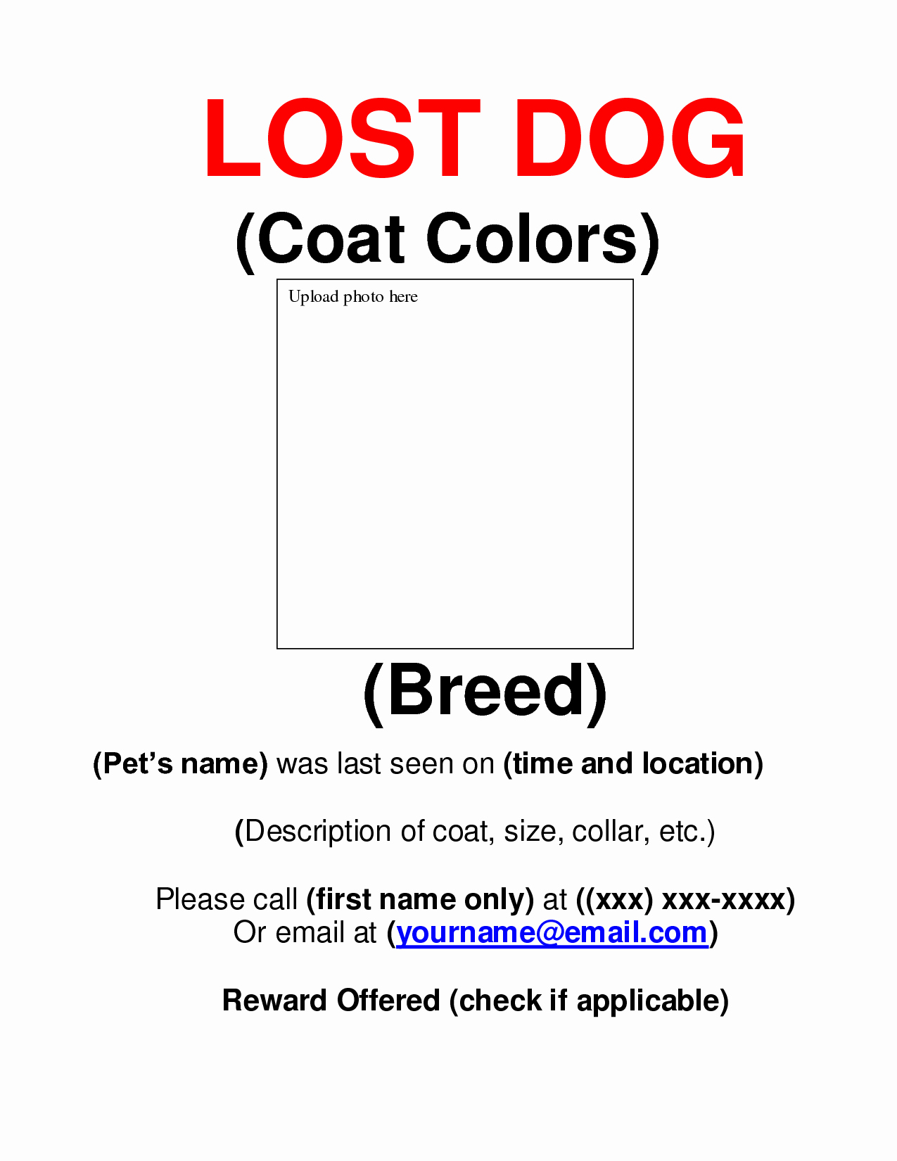 9 Best Of Missing Dog Flyer Template Free Lost