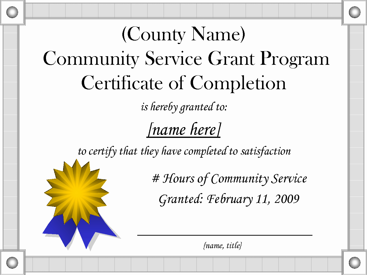 9 Best Of Munity Service Hours Certificate