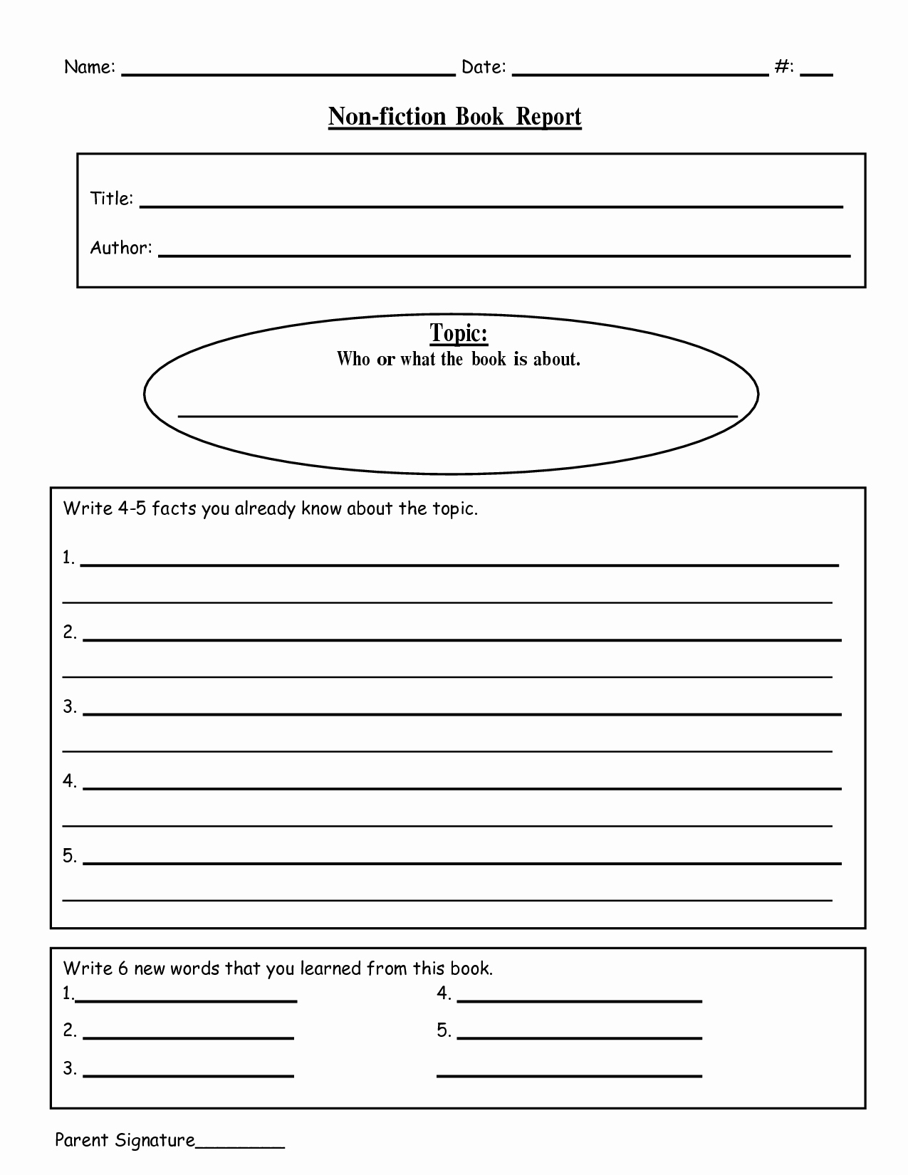 9 Best Of Nonfiction Book Report forms Printable