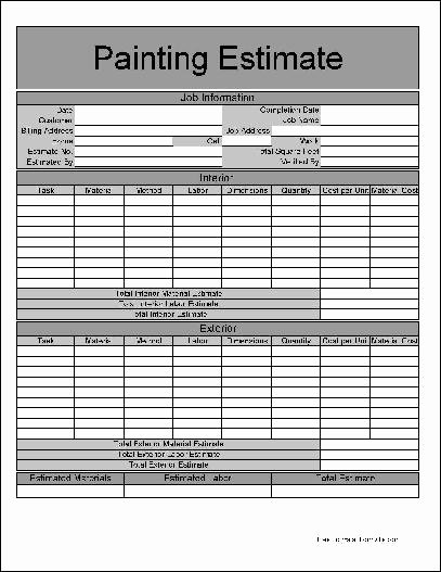 9 Best Of Painting Estimate forms Printable Free