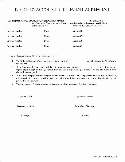 post payment settlement agreement template