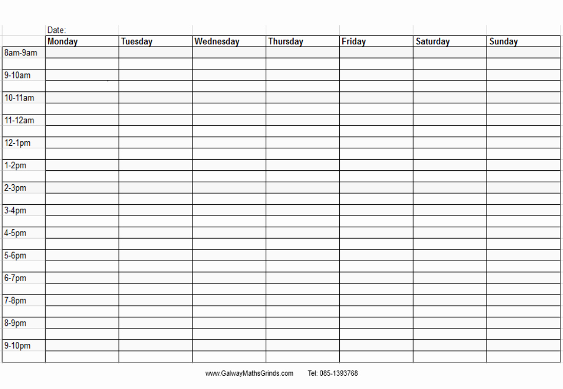 9 Best Of Printable Blank Weekly Time Slots