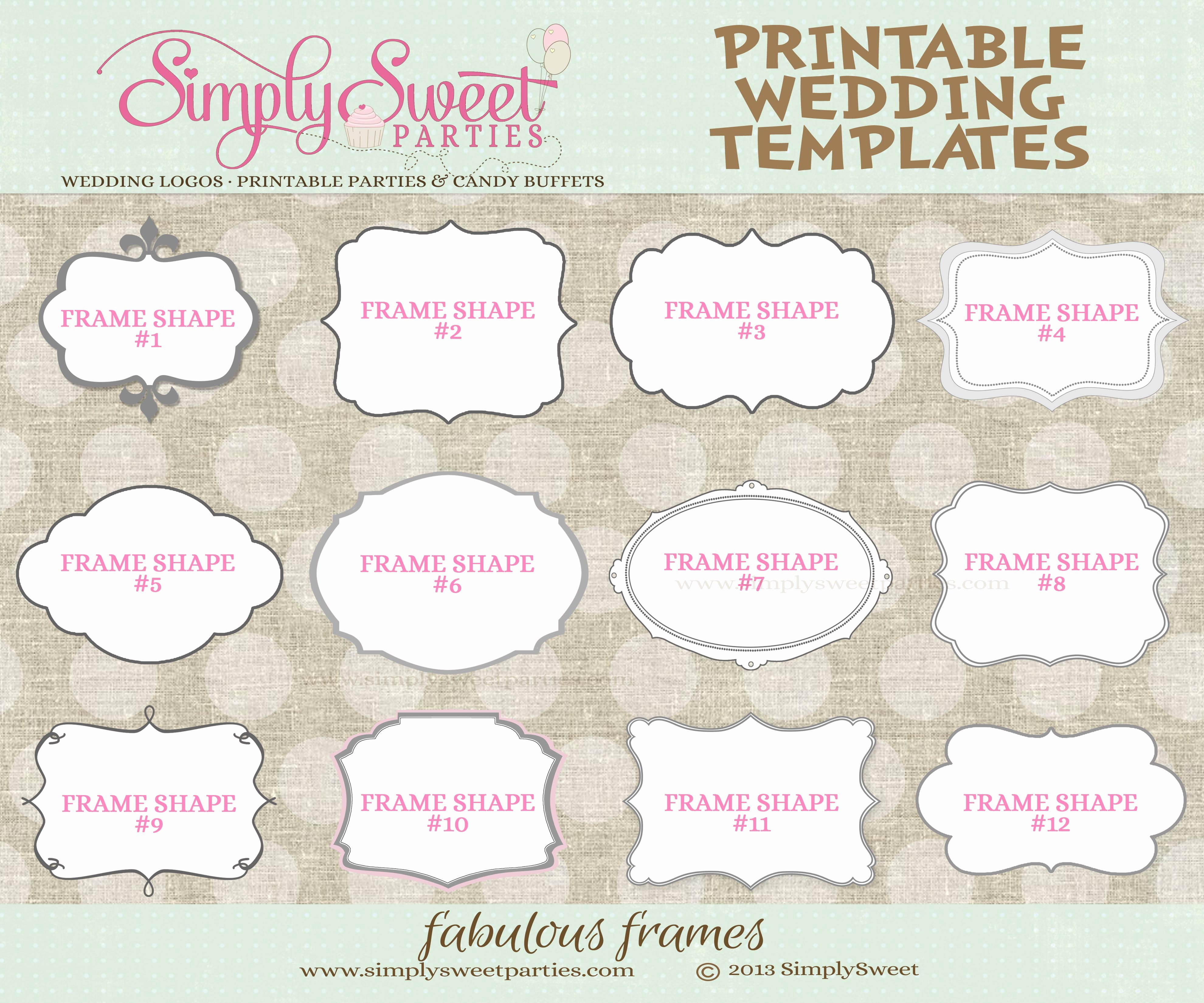 9 Best Of Printable Wedding Templates Favor Free
