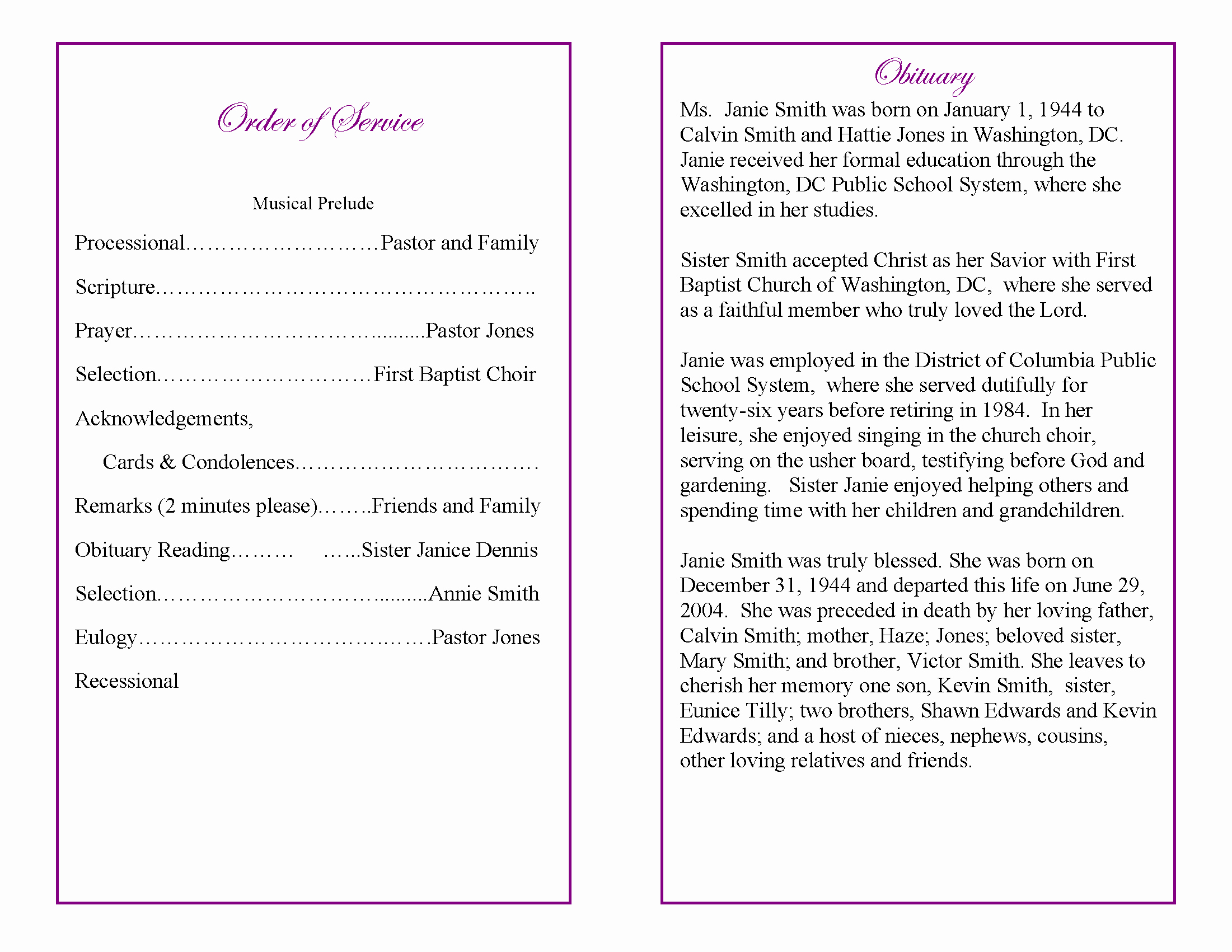 9 Best Of Sample Obituary Funeral Program Templates